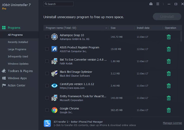 واجهة برنامج IObit Uninstaller Pro