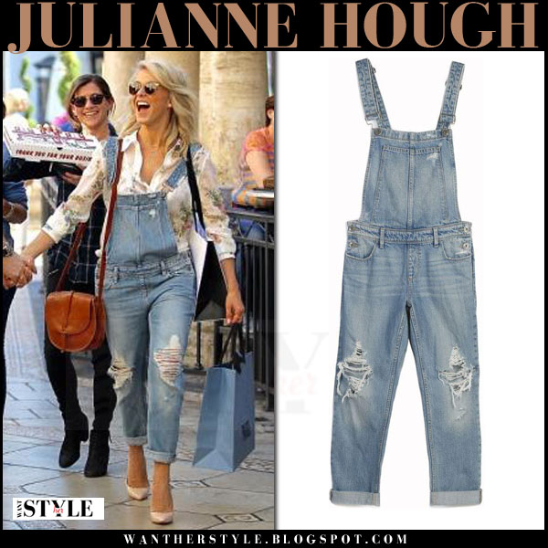Julianne Hough in denim ripped overalls paige denim sierra what she wore streetstyle