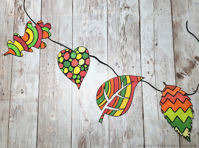 leaf template bunting craft
