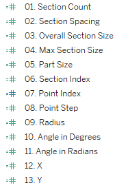 List of calculated fields, numbered