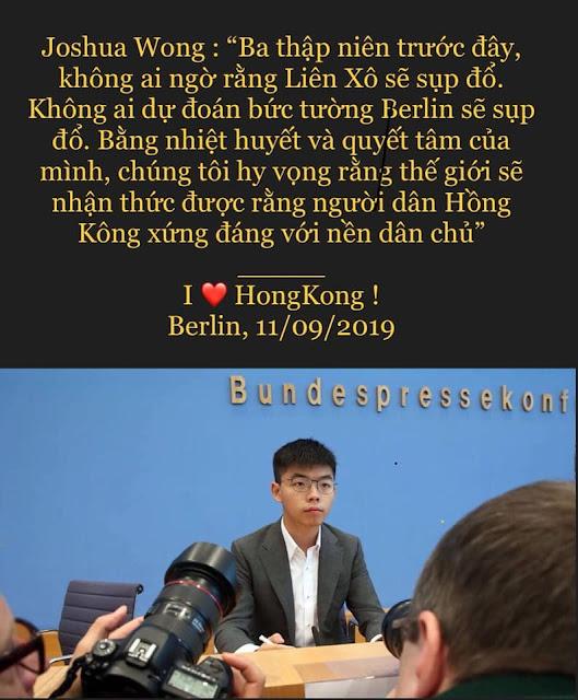 Nỗi sợ Joshua Wong của chính quyền độc tài tàn ác Bắc Kinh