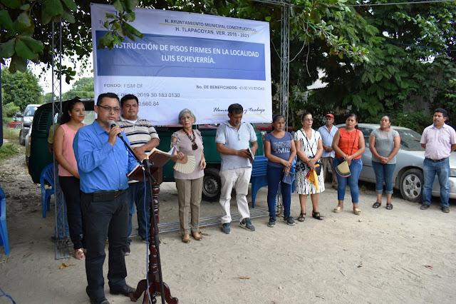"""Entrega la alcaldesa Ofelia Jarillo """"Piso Firme"""" para 40 familias de la comunidad Luis Echeverría."""