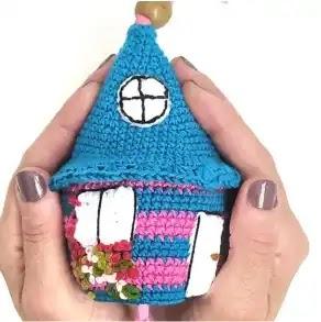 Llavero Casita a Crochet