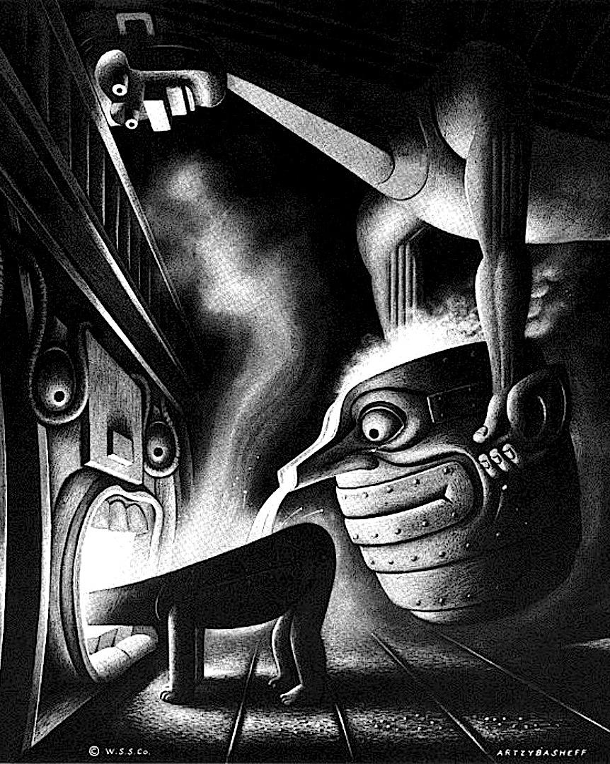 a Boris Artzybasheff illustration of a foundry