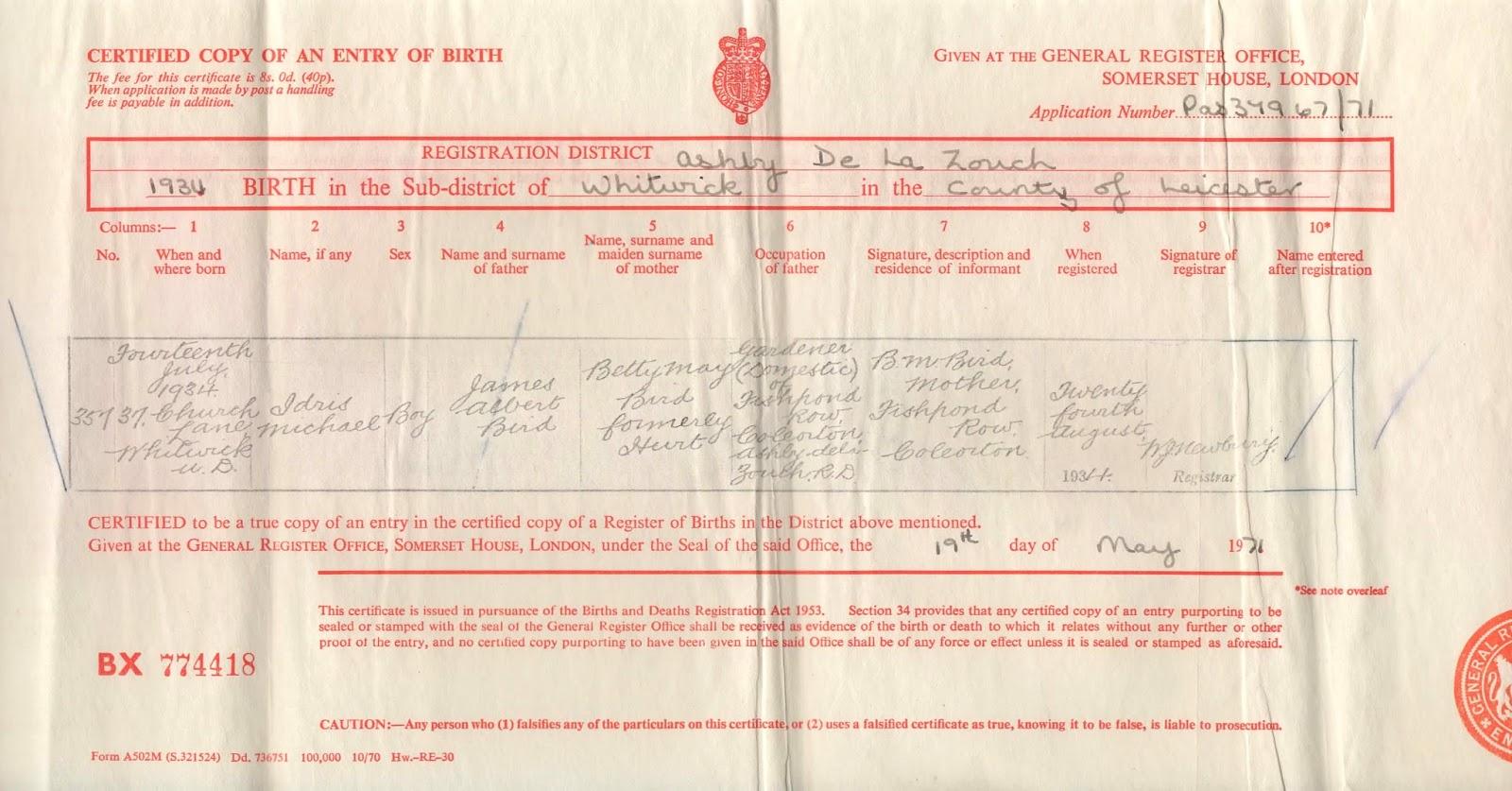Kiki nakita the bird family 8 generations my granddad michaels birth certificate for july 14th 1934 aiddatafo Choice Image