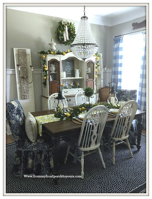Mia-Chandelier-Lemon-Decor-Late -Summer -Dining -Room- Decor-From My Front Porch To Yours