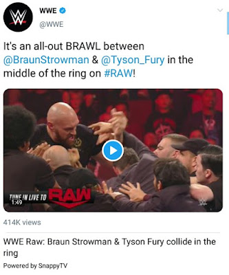 Tyson Fury Sparks Brawl With Braun Strowman In WWE Ring,Security Rush In (Photos)