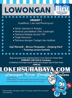 Lowongan Kerja di Gerai Air Minum Biru Surabaya Terbaru Mei 2019