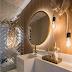 Lavabo pequeno com tijolos espelhados e bancada recuada com cuba esculpida!