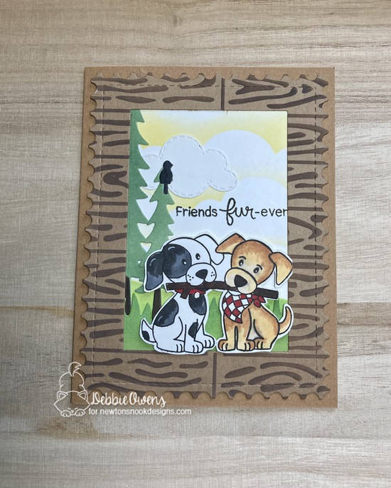 Friends fur-ever by Debbie features Frameswork, Puppy Pals, Hardwood, Sky Borders, Sky Scene Builders, Forest Scene Builder by Newton's Nook Designs; #newtonsnook, #inkypaws, #friendshipcard, #cardmaking, #dogcards