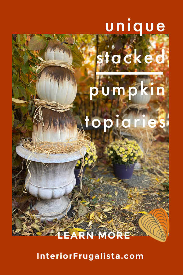 DIY Rusty Abstract Painted Pumpkin Topiaries by Interior Frugalista, a unique non-traditional twist for faux stacked outdoor pumpkins and fun to watch the rust magically happen!#abstractpaintedpumpkins #pumpkintopiary