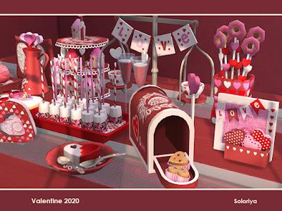 Valentine 2020 Валентина 2020 для The Sims 4 Набор декоративных блюд для ваших романтических дней. Включает 14 объектов, имеет 3 цветовых вариации. Все можно найти в категории: декоративные - беспорядок. Предметы в наборе: -два торта, -пончики, -декоративный почтовый ящик с печеньем, -коробка с сердцем, -печенье с сердцем, -закуски, -коктейль, -рулет с начинкой, -желатин, -подушка и кувшин, -кексы, -весы, -сердца в коробке. Автор: soloriya
