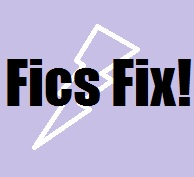 Fics Fix! title image with purple background and white lightning bolt shape