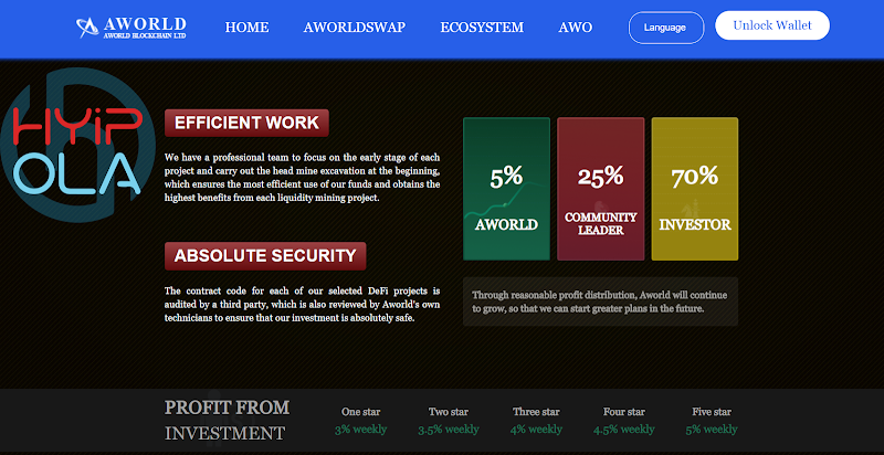 [Not Monitored] Review Aworld VC [DEFI] - AWO Token - Dự án Smart Contract ETH - Lãi up 5% hằng tuần