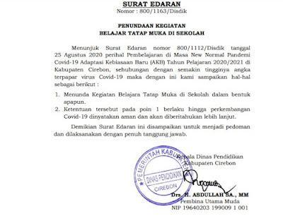 Sekolah Belajar Tatap Muka Kabupaten Cirebon Ditunda