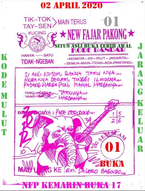Prediksi SGP Kamis 02 April 2020 - New Fajar Pakong