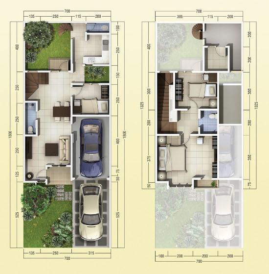 Denah rumah minimalis ukuran 7x18 meter 3 kamar tidur 2 lantai