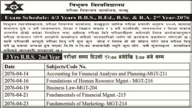 Exam Schedule of BBS 3 Years BBS 2nd year 2076
