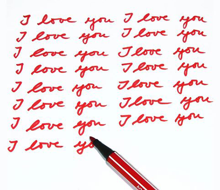 Paper covered in I love you