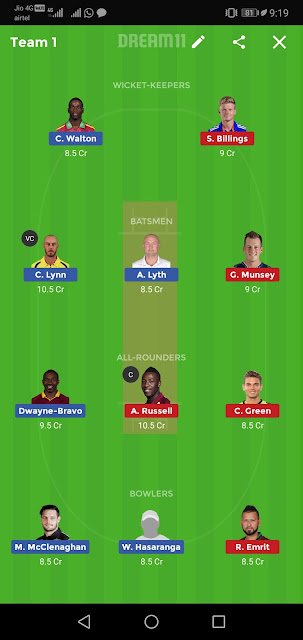 MAR vs NOR Dream11 Team Prediction : Maratha Arabians Vs Northern Warriors T10 League 2019, Dream11 Best Team,Best Dream11 Team,