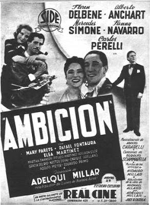 Mercedes Simone en cartelon del film Ambicion en 1939
