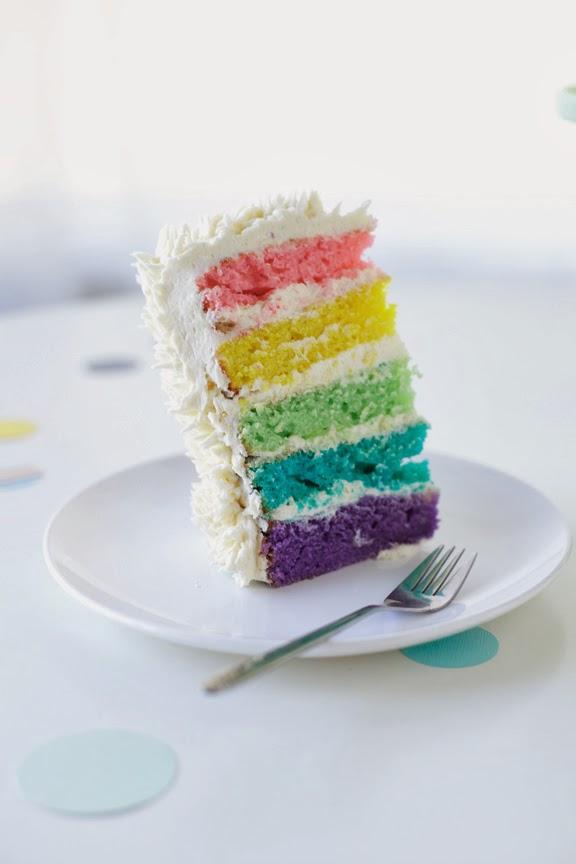 Standing Rainbow On Top Of Cake