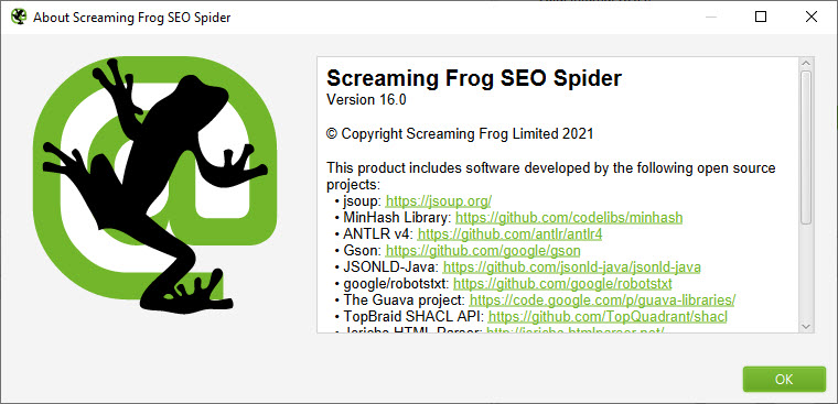 Screaming Frog SEO Spider 16.0