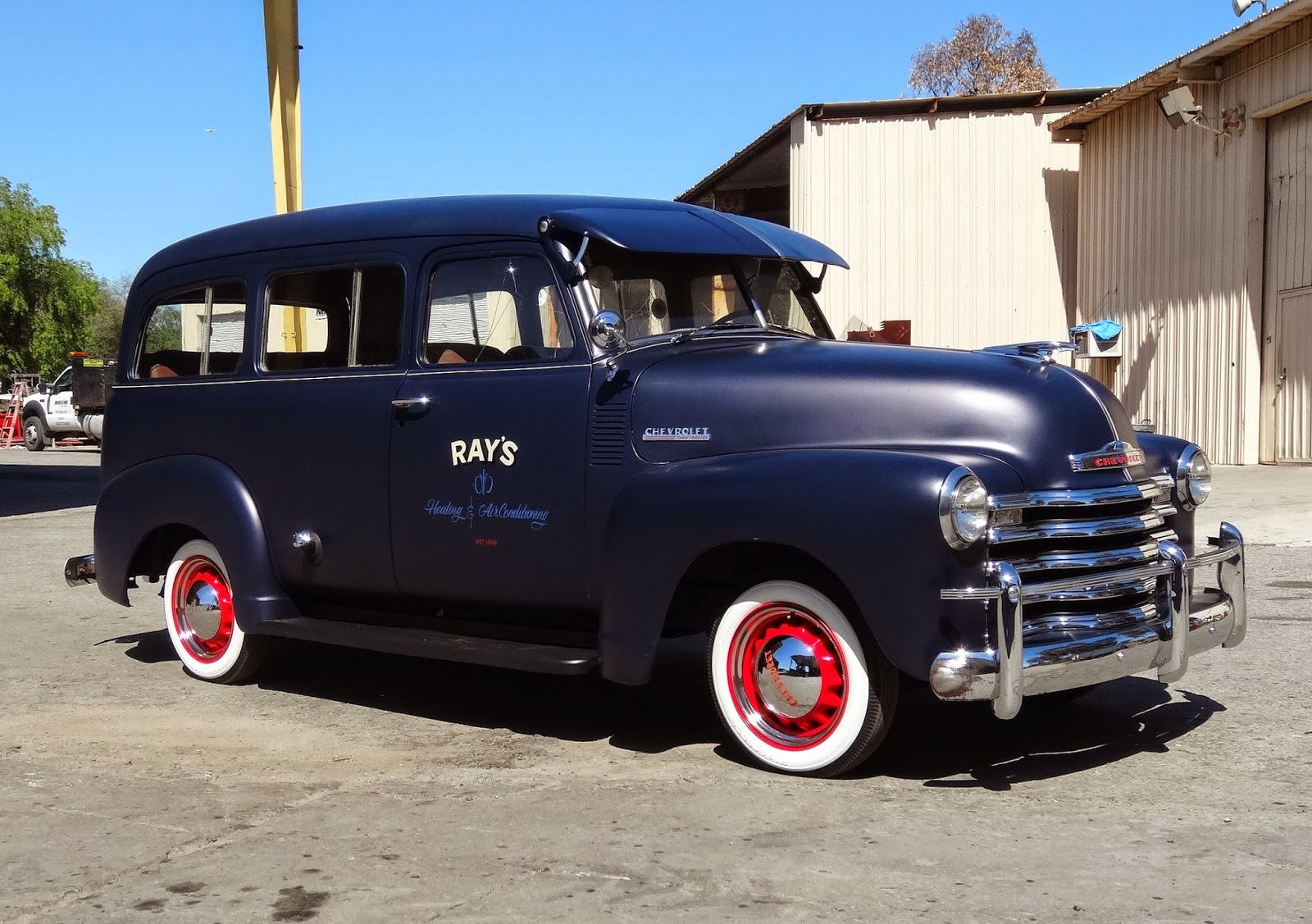 1950 Chevy Truck Artillery Wheels Lowrider With 1949 Patina Dual Advanced Design Pickups Slammed Both In Ratty Finishes
