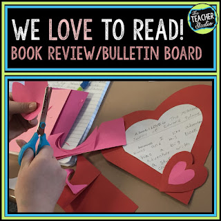 Valentine's Day, opinion writing, third grade, fourth grade, fifth grade, book reports, book review, teaching reading, bulletin boards, Valentine bulletin boards, reading bulletin boards, February bulletin board, February activities
