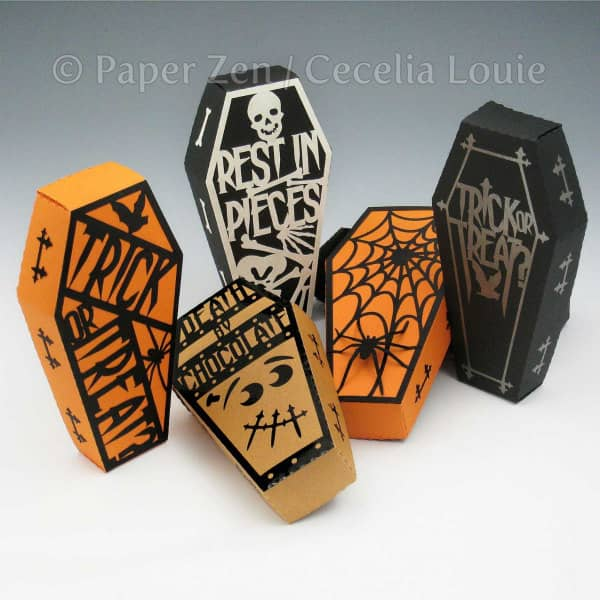 coffin-shaped Halloween treat boxes