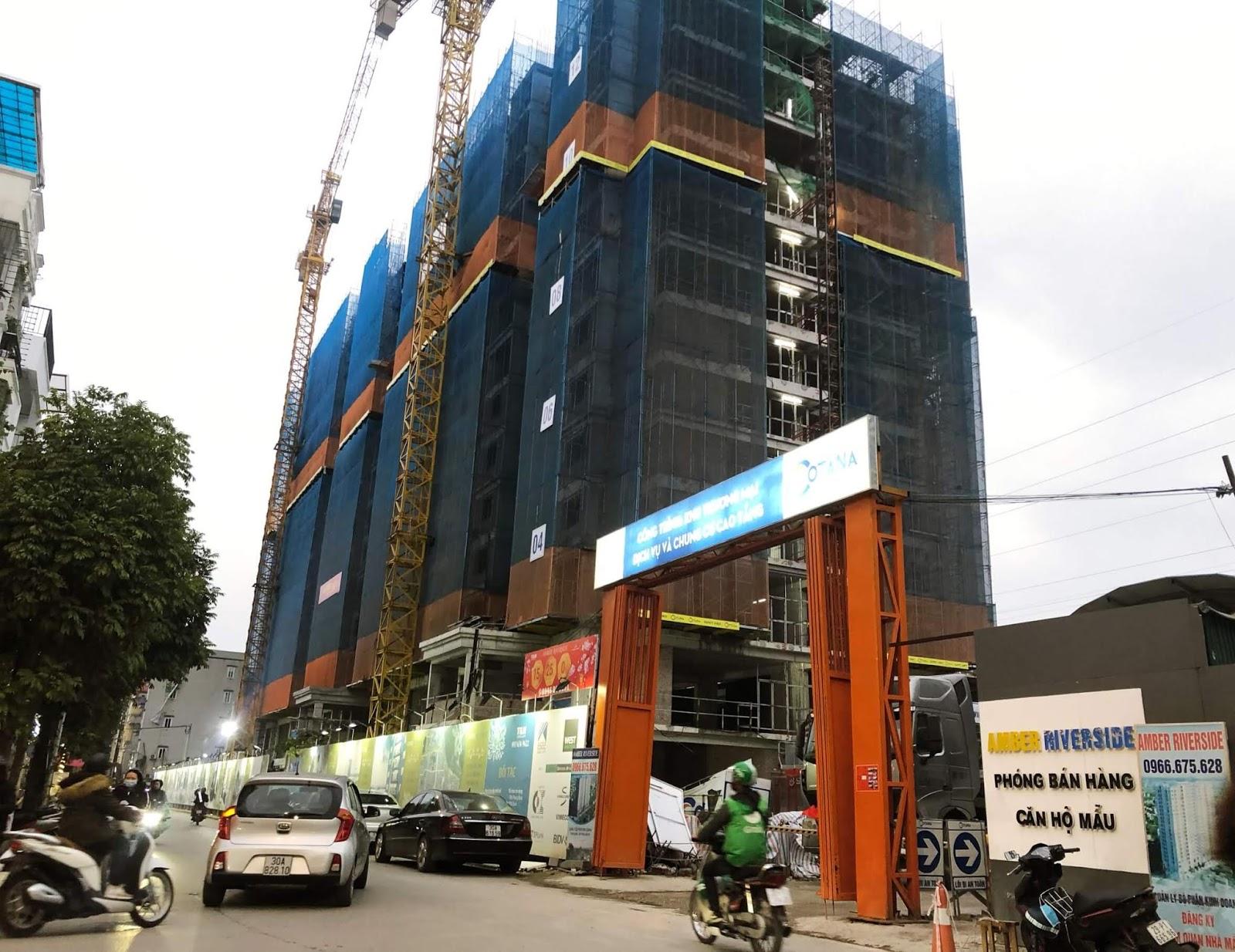 Hình ảnh tiến độ dự án Amber Riverside Minh Khai tháng 2