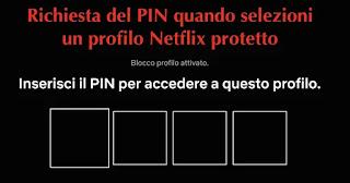 schermata di richiesta pin se utente sceglie profilo cui hai messo la password