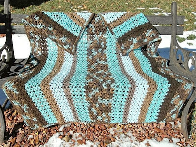 "Crocheted afghan, ""Winterwood"""