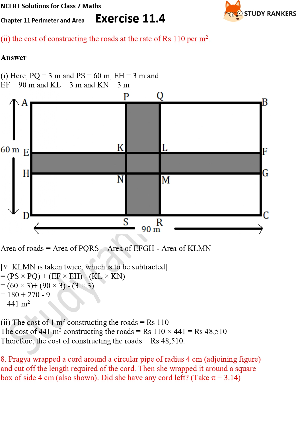 NCERT Solutions for Class 7 Maths Ch 11 Perimeter and Area Exercise 11.4 Part 5