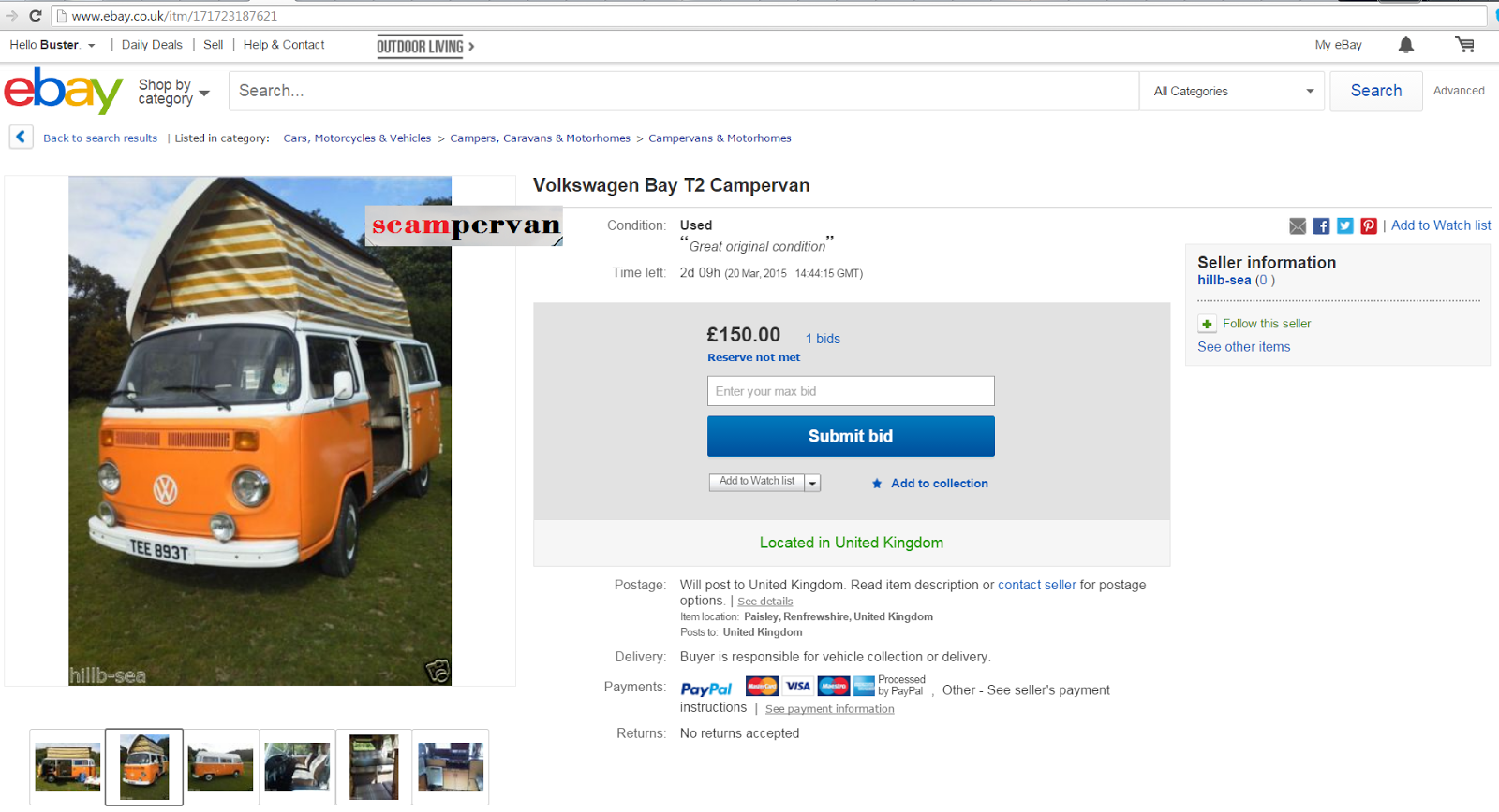 Ebay Scam Volkswagen Bay T2 Campervan Devon Moonraker Tee893t Fraud Tee 893t 18 Legalbeagles Forum