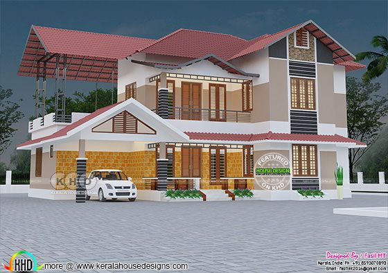 2090 sq-ft 3 bedroom modern sloping roof house