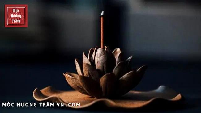 Đế cắm nhang bằng gỗ hình hoa sen
