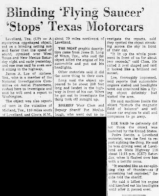 Blinding 'Flying Saucer' Stops Texas Motorcars - Indianapolis Star, The 11-4-1957