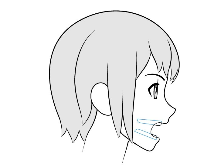 Gigi anime membuka tampilan sisi mulut