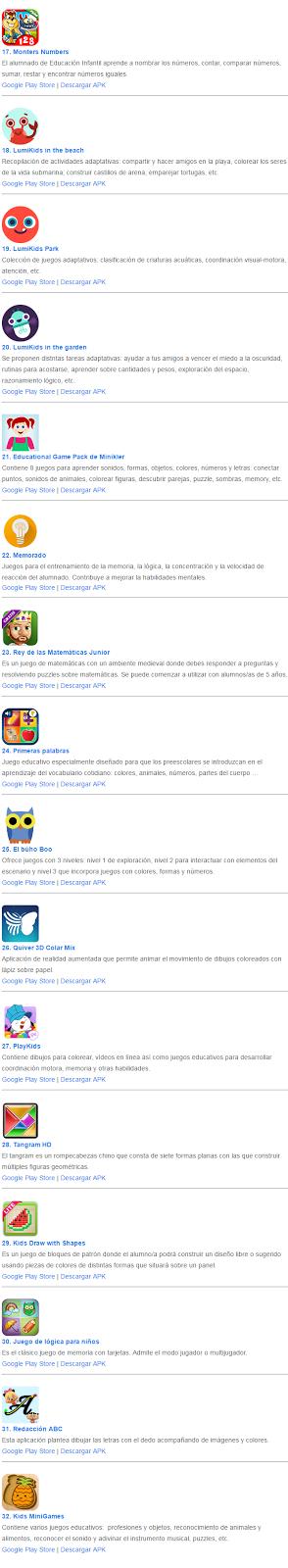 Las restantes apps para educación infantil