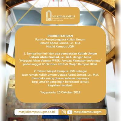 Masjid UGM Umumkan: Tidak Ada Pembatalan Kajian UAS