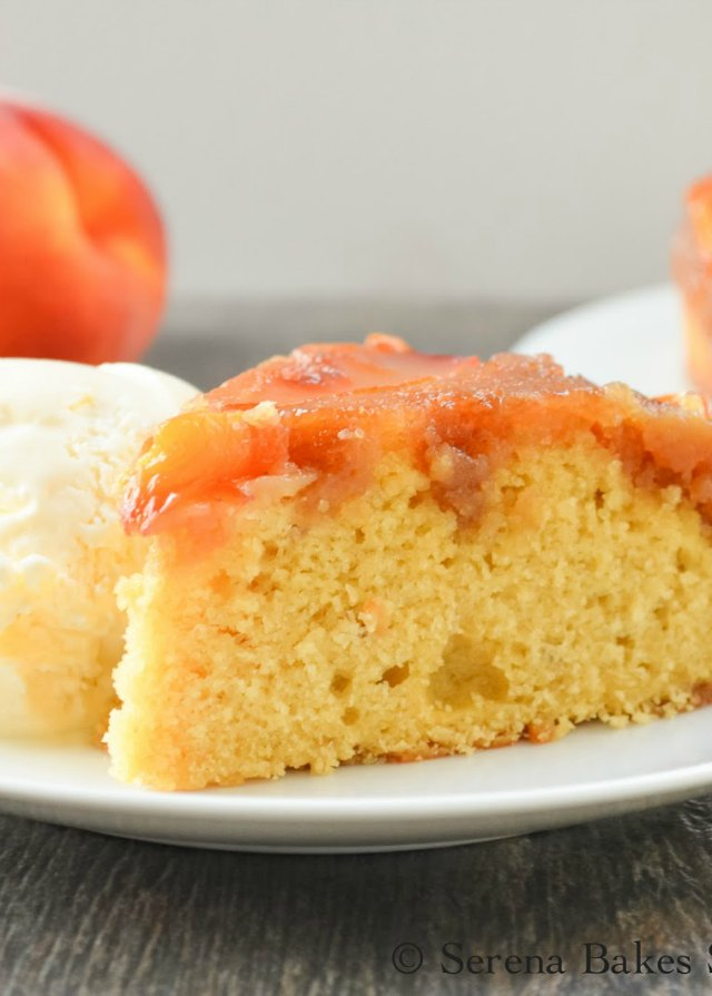 Peach Upside Down Cake recipe is has an elegant presentation and is easy to make from Serena Bakes Simply From Scratch.