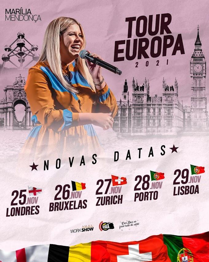 Marília Mendonça divulga datas de sua Turnê na Europa em 2021