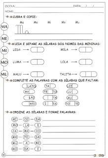 Atividade de alfabetização letra M