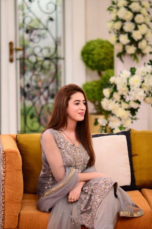 Salman Saeed with His Wife Aleena in Nida Yasir Show
