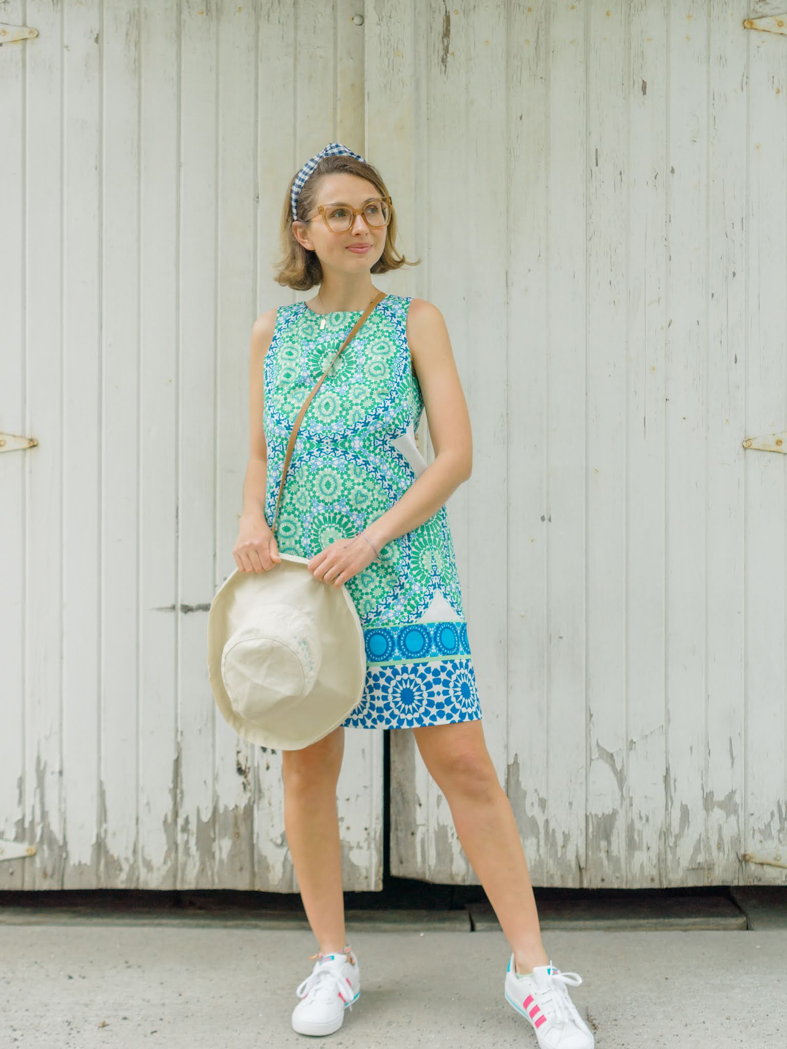blue and green shift dress