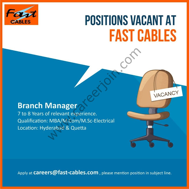 Fast Cables Limited Jobs July 2021