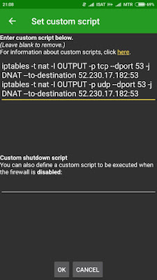 Jendela pengaturan custom script AfWall+