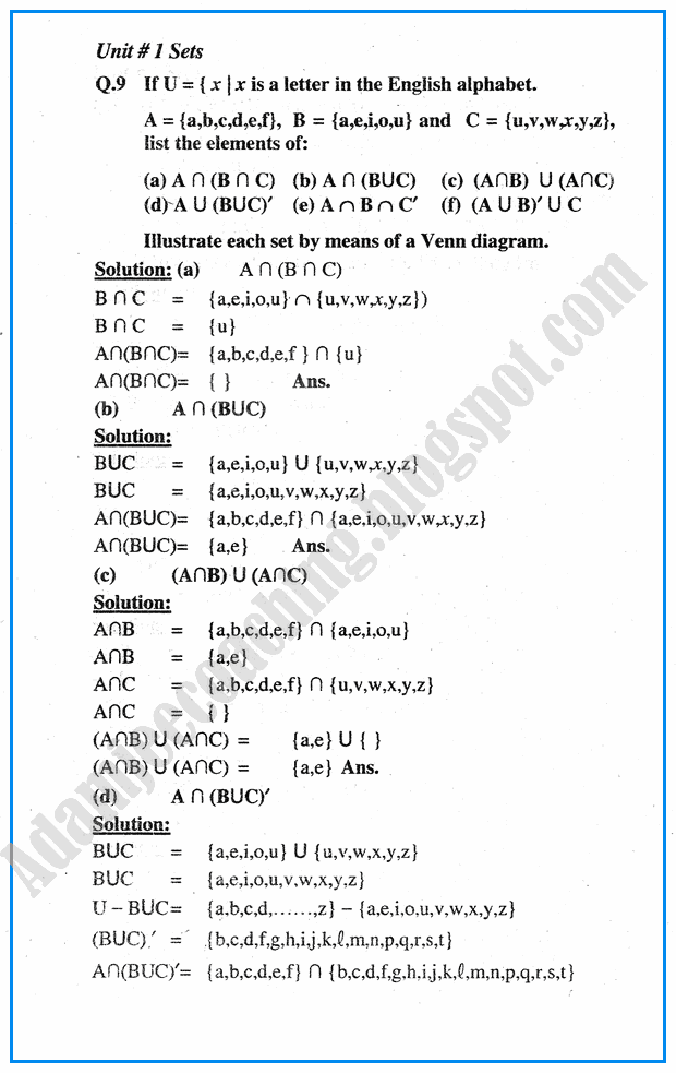 Adamjee Coaching: Sets - Question Answers - Mathematics Notes for Class 10th