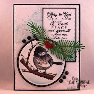 Winter Chickadee  Custom Dies: Pierced Rectangles, Pierced Circles, Circles, Pine Branches, Circle Ornaments